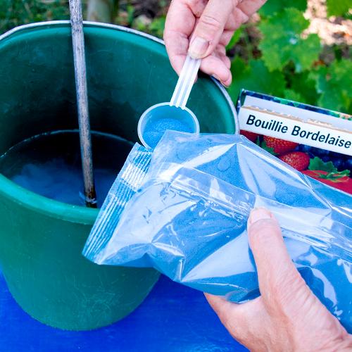 Image montrant une personne qui melange de bouillie bordelaise avec de l'eau